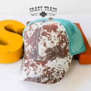 Crazy Train Cowhide Ponytail Hat